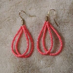 Beaded tear drop hoop earrings